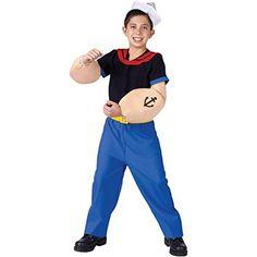 Popeye the Sailor Man Child Costume Medium (8-10) #Sailor Halloween Costumes Popeye Halloween Costume, Halloween Costumes Kids Boys, Sailor Costumes, Boy Costumes, Costume Ideas, Party Costumes, Popeye Cartoon, Popeye The Sailor Man, Classic Cartoon Characters