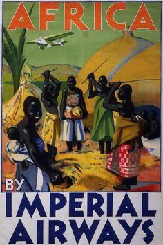 Британские авиационные рекламные плакаты 20-х - 30-х годов В Африку с авиакомпанией Imperial Airways (1932 год)