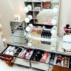 A beautiful makeup collection display.