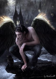 Once one of the most trusted angels of God, Hananiah is now one of the infamous dark angels that merely feed on souls and misery. He soon grows attached to Évike though, which raises attention in the Seven. Fantasy World, Dark Fantasy, Fantasy Art, My Demons, Angels And Demons, Fantasy Creatures, Mythical Creatures, Male Angels, Ange Demon