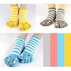 Classic Stripe Pattern Knitted Cotton Toe Socks