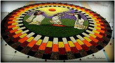Pookkalam - Flower Decoration by Praneel Purushothaman / Rangoli Ideas, Rangoli Designs, Indian Wedding Decorations, Flower Decorations, Flower Pattern Design, Floral Design, Onam Pookalam Design, Poster Rangoli, Onam Celebration