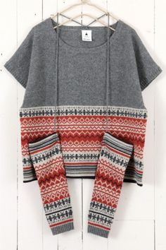 I have an old (too small) fair isle sweater that I've been thinking of taking apart. Punto Fair Isle, Fair Isle Pattern, Fair Isle Knitting, Online Fashion Stores, Mode Inspiration, Refashion, Pulls, Knitting Projects, Knitwear