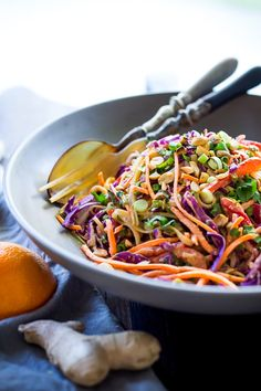 Thai Noodle Salad with the best ever Peanut Sauce- loaded up with healthy veggies! Vegan and Gluten-Free! Thai Noodle Salad with Peanut Sauc. Thai Cucumber Salad, Thai Noodle Salad, Thai Salads, Thai Noodles, Rice Noodles, Quick Healthy Snacks, Healthy Eating, Healthy Foods, Whole Food Recipes