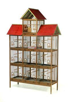 TEN-ROOM BIRD CAGE IN THE GEORGIAN STYLE. 🇸🇦🇸🇦🇸🇦🇸🇦🇲🇴 Birdcage Ideas: More At FOSTERGINGER @ Pinterest.🇲🇴🇸🇦🇸🇦🇸🇦 Diy Parakeet Cage, Bird Cage Design, Antique Bird Cages, Bird House Feeder, Wooden Bird, Home Signs, Bird Houses, Pet Birds, Dollhouses