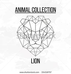 Geometric vector animal lion head background