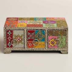 Multicolor Hand-Painted Wood Box – World Market Multicolor Hand-Painted Wood Box – World Market Painted Wooden Boxes, Hand Painted Furniture, Wood Boxes, Painted Trunk, Indian Furniture, Funky Furniture, Furniture Makeover, Rajasthani Art, Truck Art