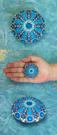 "Mandala Stone (Mini) by Kimberly Vallee: Hand painted with acrylic and protected with a matt finish, this cute little ""Mini"" stone is only between 1.5"" and 2"" wide. It is one-of-a-kind."