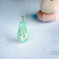 Seashell Nautical Turquoise Necklace - one of a kind unique handmade resin jewelry.