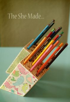 Then she made…: Pencil Holder Project. Block of wood and mod podge paper