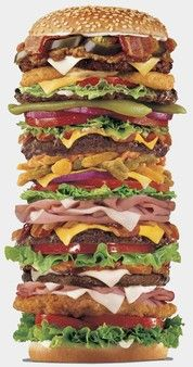 Fast food chains become more creative to attract their customers. For example, this huge hamburger consists of countless different layers, which draws much attention to people.      http://smashinghub.com/20-creative-advertisements-of-famous-fast-food-chains.htm