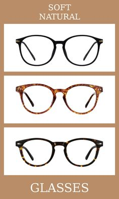3 Pairs of Glasses for the soft natural body type, one of thirteen Kibbe body types. Soft naturals have broad and blunt bodies, but with some added femininity and softness.   The glasses that suit them the most are elegant, slightly rounded, and a tortoiseshell pattern is always best.   Learn more about the Kibbe body types at cozyrebekah.com