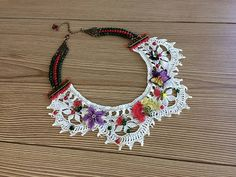 Lace Necklace, Collar Bib Necklace, OOAK Necklace, Bib Necklace, Embroidered Necklace, Vintage Style, Handmade Jewelry, Women Gift,
