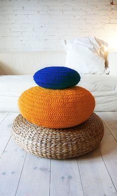 Coussin de sol au Crochet - orange