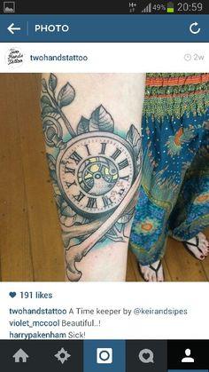 Pocket watch forearm tattoo