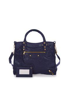 Giant 12 Golden Velo Bag, Dark Blue by Balenciaga at Neiman Marcus.