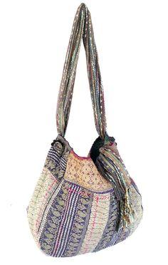 kantha quilt bag reversible sari hobo by fairlyworn on Etsy, $45.00
