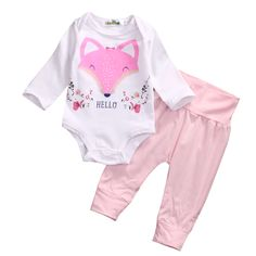 >> Click to Buy << 2Pcs Cute Infant Baby Girls Fox Romper Tops Leggings Pants  Outfit Clothes Set #Affiliate