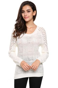 Casual Backless O-neck Long Sleeve Hollow Out Knit Pullover Sweater