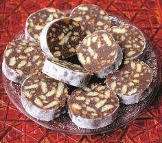 salam-de-biscuiți Bulgarian Desserts, Romanian Desserts, Bulgarian Recipes, Romanian Food, Bulgarian Food, Romanian Recipes, Yummy Treats, Sweet Treats, Cookie Recipes