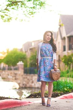 cute & little | dallas petite fashion blog | j.jill blue floral spring easter dress, cult gaia ark bag, steve madden blue carrson, baublebar white crispin drops