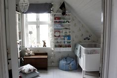 A whitewashed Norwegian nursery with sweet details galore. #PopSugarMoms