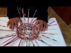 técnica de tejido simil mimbre con terminación realizada con papel periódico, cestería ecológica - YouTube
