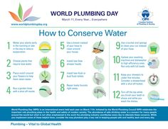 World Plumbing Day celebrates the important role plumbing plays in the health and safety of modern society. Water Footprint, Clean Your Car, Water Conservation, Plumbing, Marie, World, Poster, Bucket