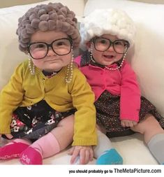 These babies are soooo cute! If I'll ever have children, I will probably always make them wear granny hair <3 #funnyhalloweencostumes