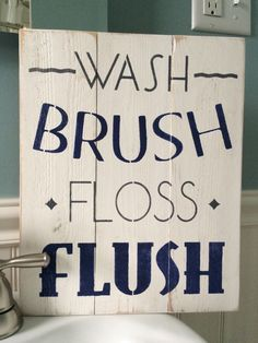 Wash brush floss flush distressed bathroom sign - nautical bathroom decor - grey and navy bathroom decor - hand painted wood sign - washroom