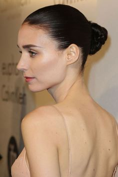 Cannes Film Festival 2013 Beauty: At the Calvin Klein party, Rooney Mara wore her hair slicked back into a ballerina bun - paired with pink lipstick and lashings of mascara.