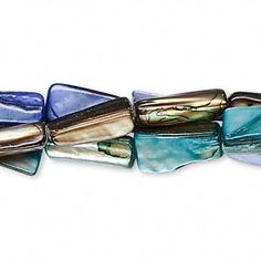 Bead, mother-of-pearl shell (dyed), blue / turquoise blue / brown, rectangular tube, Mohs hardness Sold per pkg of inch strands. Pine Needle Baskets, Mother Pearl, Blue Beads, Blue Brown, Bunt, Color Mixing, Shells, Strands, Turquoise