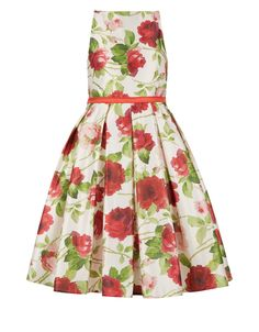 Crafted from duchess satin, our rose-print party dress for girls is a perfect choice for special occasions. Fully lined for a smooth fit, this beautiful piece is crafted with a high-neck, fitted bodice and a full, pleated skirt for dance floor twirls. Features a back zip fastening.