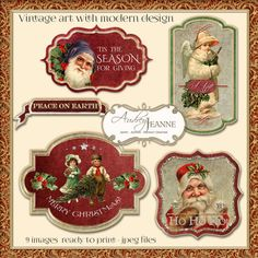 :: GORGEOUS :: VINTAGE CHRISTMAS ::  DIY print yourself Christmas Vintage Santa with Children Digital Gift Tags by AudreyJeanneRoberts, @etsy $4.95  Comes with 5 ornate, beautiful tags, 1 banner, 3 stars and one sheet of red and gold damask swirl background paper.  #crafting #scrapbooking #crafter #digitalcollagesheet #digital #collage #sheets #printyourself #victorian #santa #stnicholas #gifttags #christmas