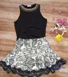 Look fofo.... Saia de malha trabalhada e estampada, detalhe em renda  Regata bordada  Peça pelo whatsApp  #lookfresquinho #looksfavoritos  #lookdodia #fashion #style #moda