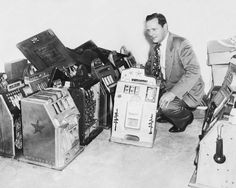 Slot Machines Confiscated Jennings 4 Star Chief 8x10 1950's Reprint Of Old Photo