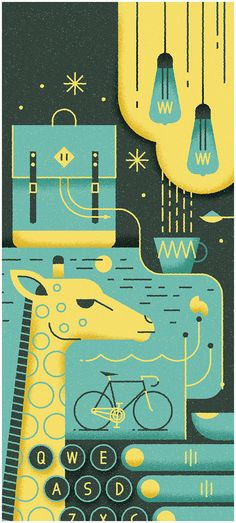 Petit Bain by MUTI, via Behance, just about perfect.  the design, the colors and how can you go wrong with a bike and a giraffe?