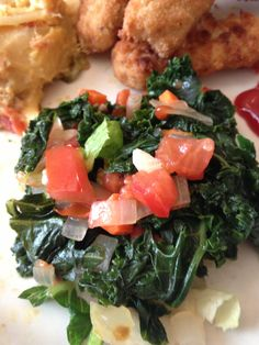 Sautéed Kale- cooked with onions, garlic, fresh tomatoes, salt and ...