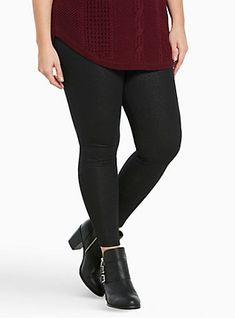 Sparkly Lurex Leggings, BLACK