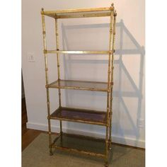 Image of Hollywood Regency Metal & Glass Etagere