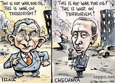 "Wow, one of the caricatures has changes but the game is the same!:  ""This is not war for OIL! This is war on terrorism!"" George W. Bush ~  Vladimir Putin"