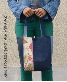 Purse bag on the shoulder old recycled blue denim jeans and light yellow and flowing coton fabrics - quilting, recycled by UneHoussePourMaPomme on Etsy https://www.etsy.com/listing/537164812/purse-bag-on-the-shoulder-old-recycled
