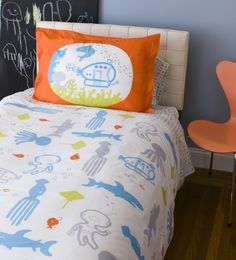 Awesome submarine adventure bedding for a toddler's room!