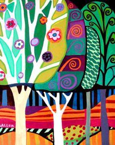 Tree Art  Modern Landscape Art Print Poster by HeatherGallerArt, $24.00