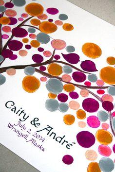 Custom Wedding Guest Book Tree  Guest book by OnceUponaPaper