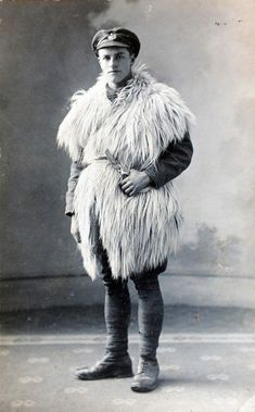 Pictured here is a Royal Engineer in a 'home' made winter coat - probably a goat - taken in the winter of 1914/15 before winter coats were i...