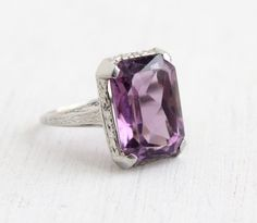 Vintage 18k White Gold Filigree Amethyst Ring - Antique Size 5 1/2 Art Deco 1920s Large 5 Carats Purple Gemstone Ring by Maejean Vintage on Etsy