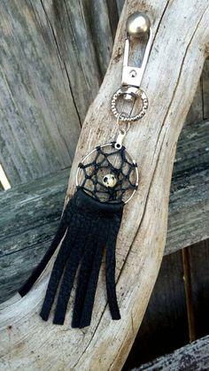 Dreamcatcher keychain/purse tassle with black by FeathersNtheWind