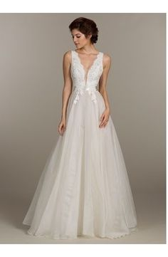 V-Neck A-Line Wedding Dress  with Natural Waist in Tulle. Bridal Gown Style Number:33083122