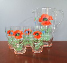 Vintage Glass Pitcher / Jug Set with Hand Painted Poppies and Cornflowers. Glass Water Jug with 4 Hi Ball Drinking Glasses from the 1970's by VintageLoulabelle on Etsy